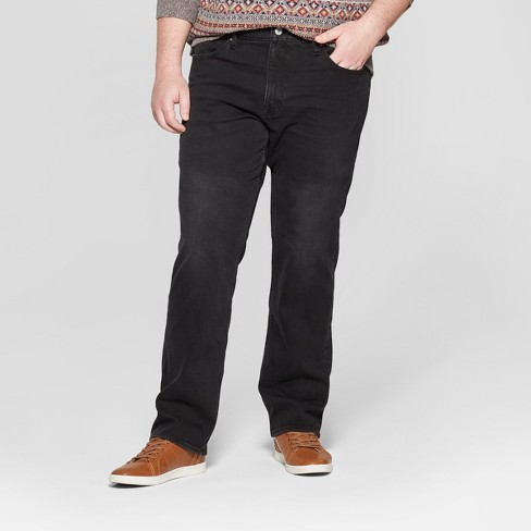 Men's Big & Tall Slim Straight Fit Brushed Back Jeans - Goodfellow & Co™ Black - image 1 of 3