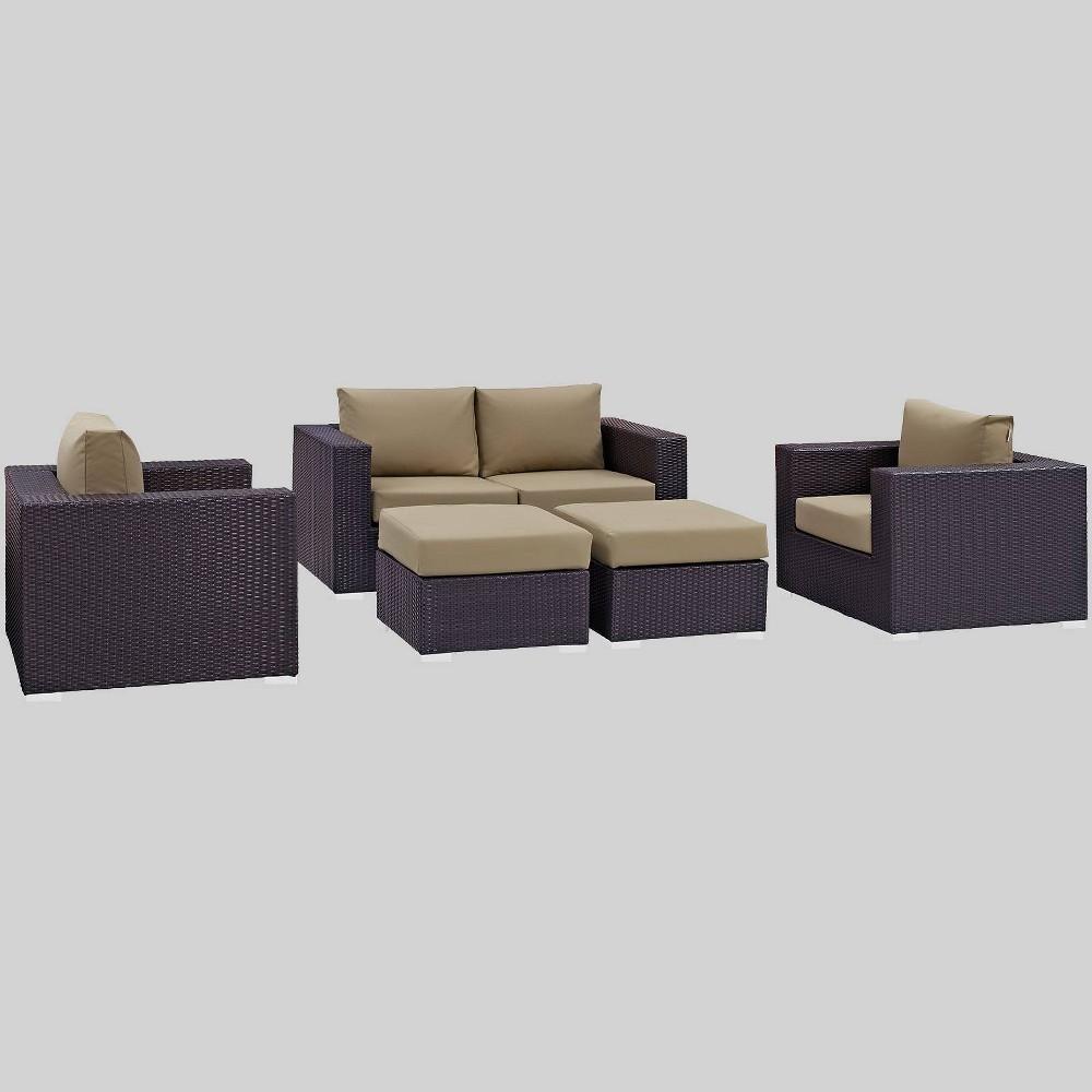 Convene 5pc Outdoor Patio Sofa Set - Mocha (Brown) - Modway