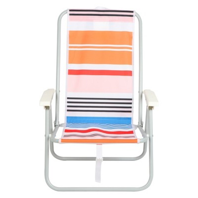 Backpack Beach Chair - Peach Stipe - Evergreen