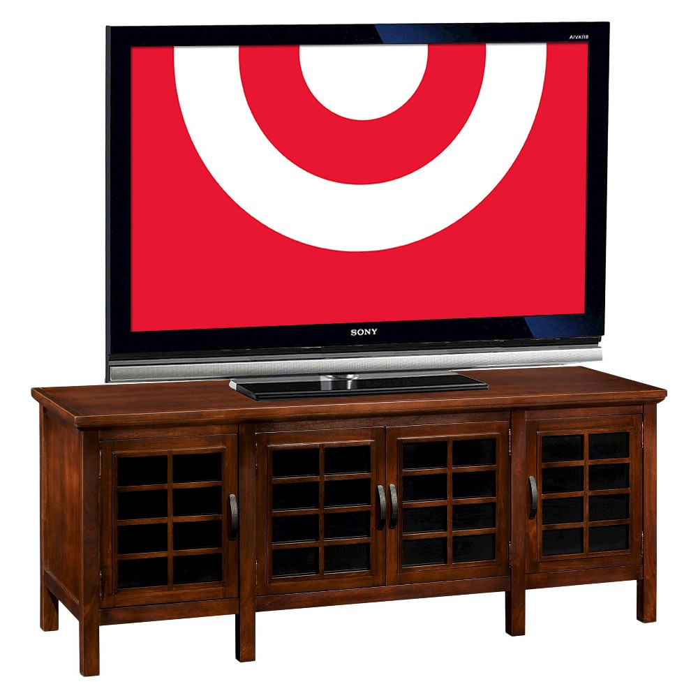 60 Riley Holliday TV Stand with Grid Patterned Doors Chocolate (Brown) Cherry - Leick Home