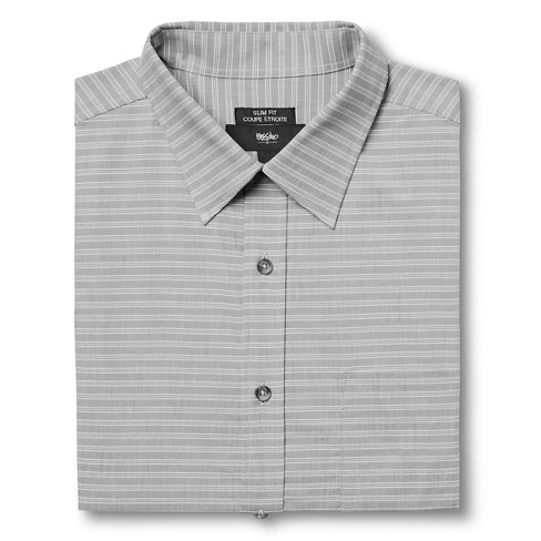 Men's S Slim Fit Stripe Dress Shirt Gray - Mossimo™ - image 1 of 3