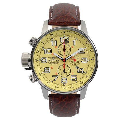 Men's Invicta 2772 I-Force Stainless Steel Leather Strap Watch - Brown - image 1 of 2