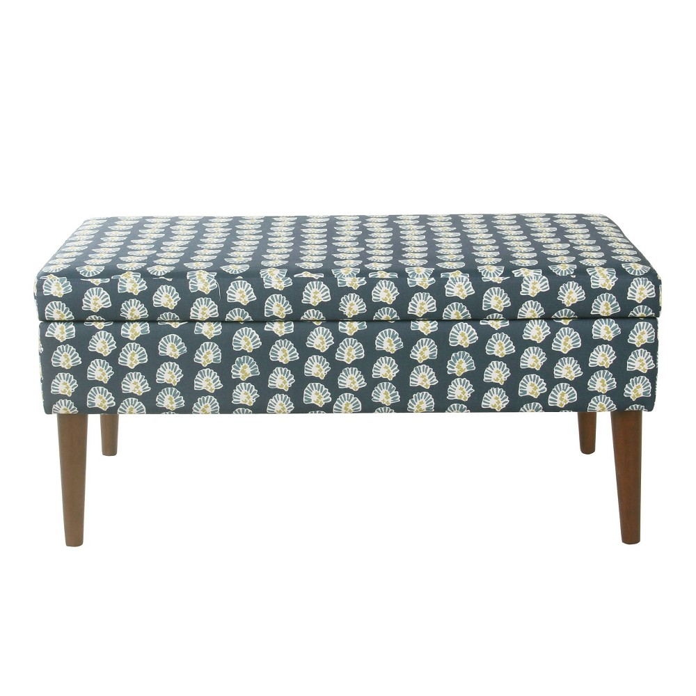 Mid-Century Storage Bench Teal Floral - HomePop was $169.99 now $127.49 (25.0% off)