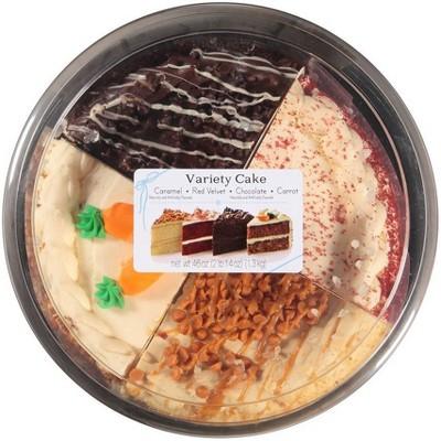 "8"" Double Layer Variety Cake - Caramel, Carrot, Chocolate, Red Velvet -  46oz"