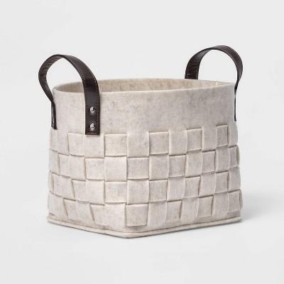 Woven Felt Rectangular Basket with Faux Leather Handles White - Threshold™