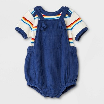 Baby Boys' 2pc Gauze Bubble Overalls Top & Bottom Set - Cat & Jack™ Navy
