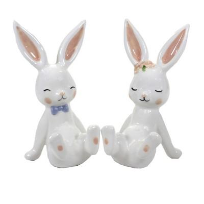 "Easter 5.5"" Frolicking Bunnies Rabbit Set/2 Spring  -  Decorative Figurines"