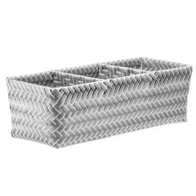 Small Rectangle 3 Compartment Woven Bin Gray and White - Room Essentials™