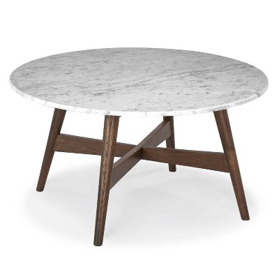 """31"""" Argentine Marble Round Coffee Table - Poly & Bark"""