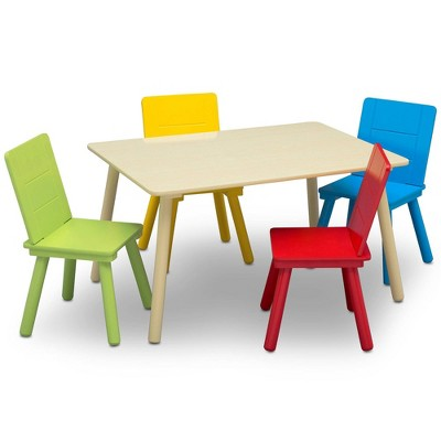 Delta Children Kids' Table and Chair Set 4 Chairs Included- Natural/Primary