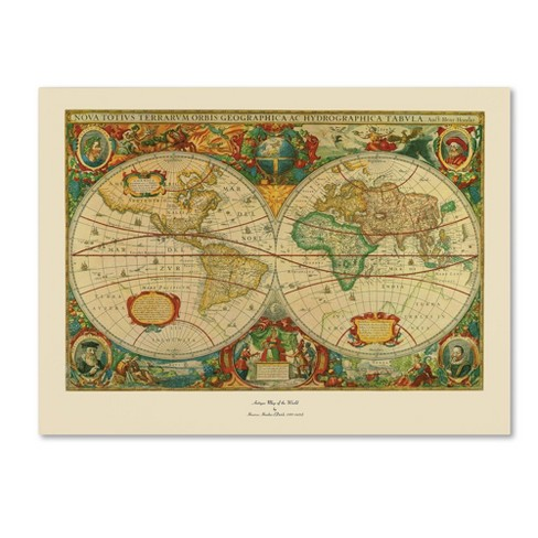 Old World Map Painting Ready To Hang Canvas Wall Art Target