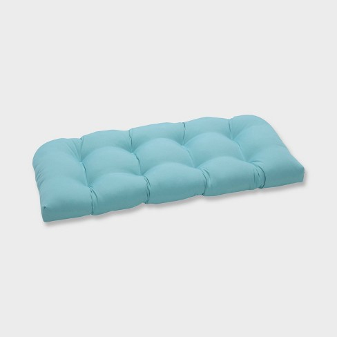 Radiance Pool Wicker Outdoor Loveseat Cushion Blue - Pillow Perfect - image 1 of 1