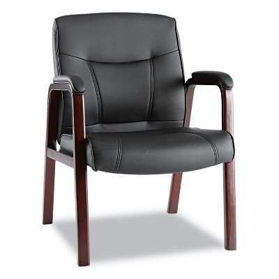 Alera Madaris Series Leather Guest Chair w/Wood Trim, Four Legs, Black/Mahogany MA43ALS10M