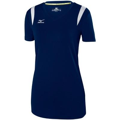 Mizuno Womens Semi Fit Short Sleeve V Neck Athletic T-shirt - Blue XX Large