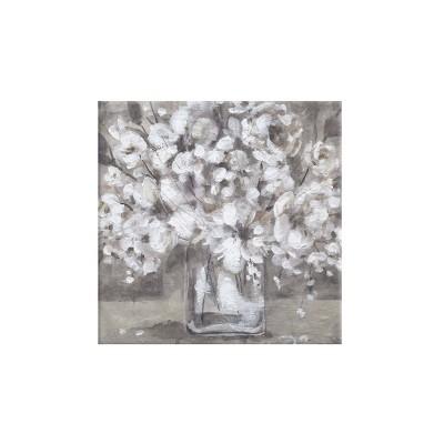 "24"" x 24"" White Flower Vase Unframed Wall Canvas Brown - Prinz"