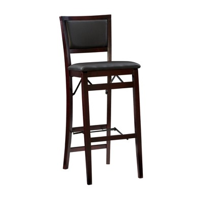 "30"" Keira Padded Back Folding Bar Stool Espresso Brown - Linon"