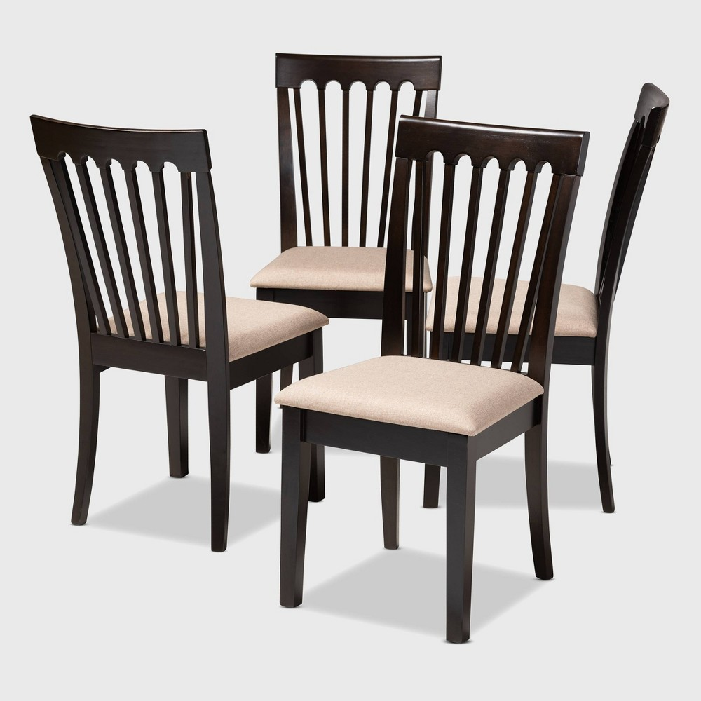 Set of 4 Minette Finished Wood Dining Chairs Brown - Baxton Studio