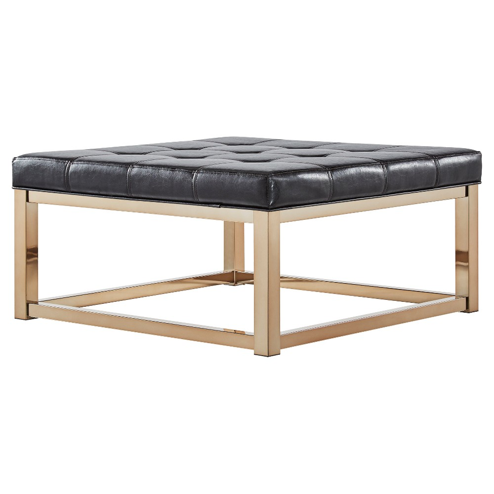 Fontaine Champagne Dimple Tufted Cocktail Ottoman Brown - Inspire Q