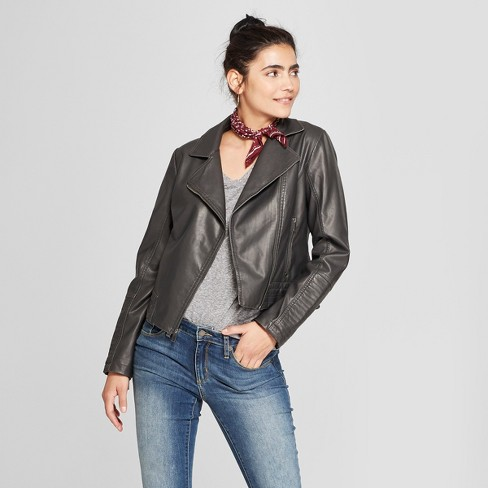 Women's Faux Leather Moto Jacket - Universal Thread™ - image 1 of 3