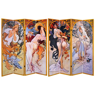 6' Tall Double Sided Four Seasons Canvas Room Divider - Oriental Furniture