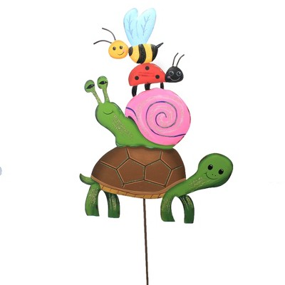 """Home & Garden 35.0"""" Turtle & Bug Stack Ladybug Bee Snail Round Top Collection  -  Decorative Garden Stakes"""