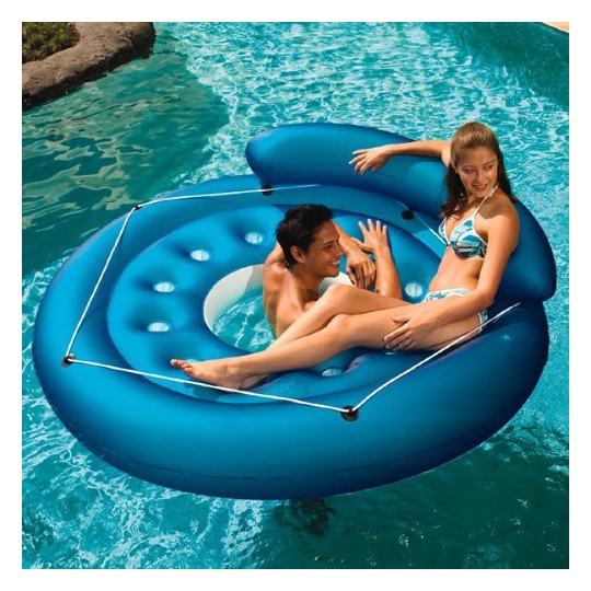 Poolmaster French Pocket Convertible Island Inflatable, Adult Unisex, Blue image number null