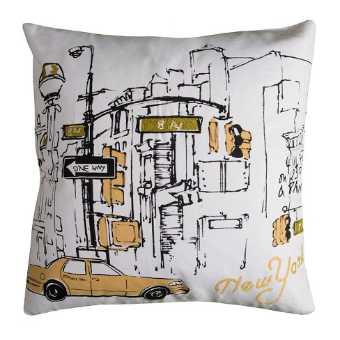 White New York Taxi Throw Pillow - (20x20) - Rizzy Home - image 1 of 1