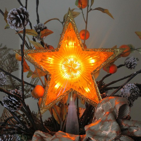 Northlight 9 Lighted Gold Edged Christmas Star Tree Topper Clear Lights Target