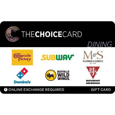 The Choice Card Dining Gift Card $25 (Email Delivery)
