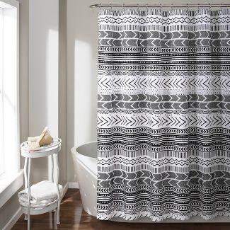 Hygge Geo Shower Curtain Black - Lush Décor