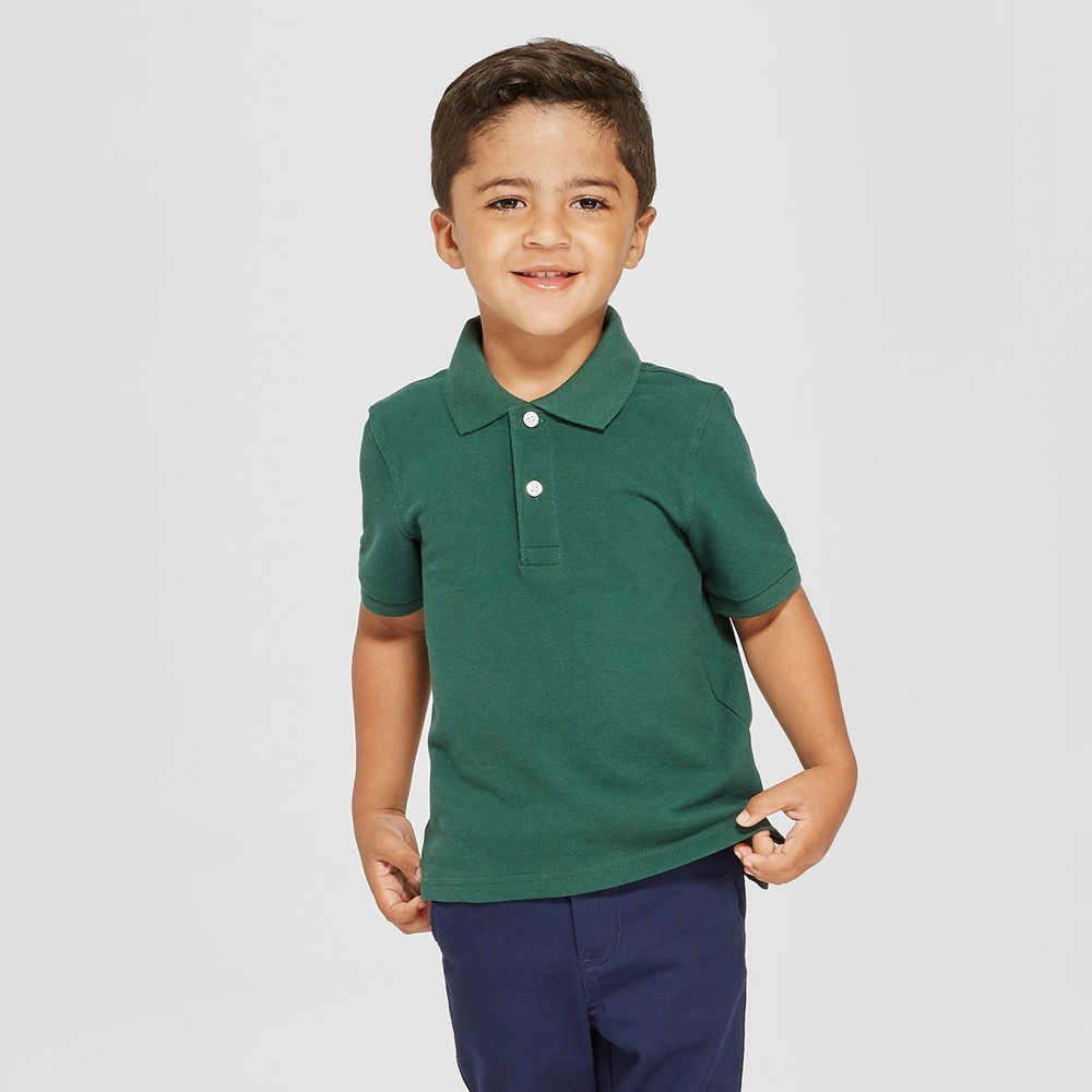 Toddler Boys' Short Sleeve Pique Uniform Polo Shirt - Cat & Jack Green 5T