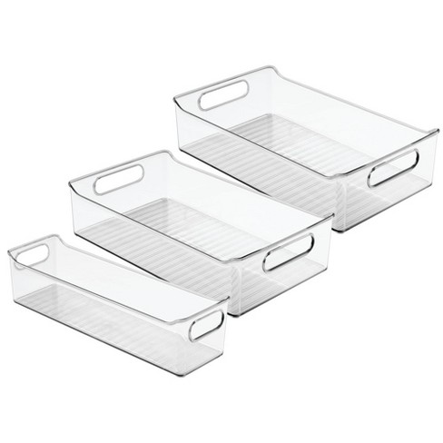 mDesign Plastic Food Storage Bins for Kitchen, Pantry, Cabinet, Set of 3 -  Clear