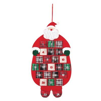 C&F Home Plaid Santa Felt Hanging Christmas Calendar