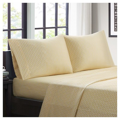 Chevron Microfiber Sheet Set - Yellow (Queen)