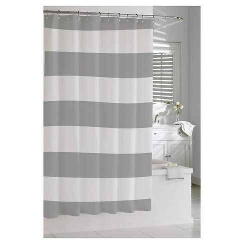 Hampton Stripe Shower Curtain Gray Kassatex