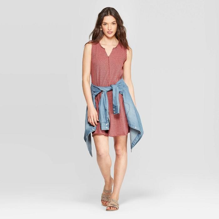 Women's Sleeveless V-Neck At Knee Striped Tank Dress - Universal Thread™ Burgundy - image 1 of 3