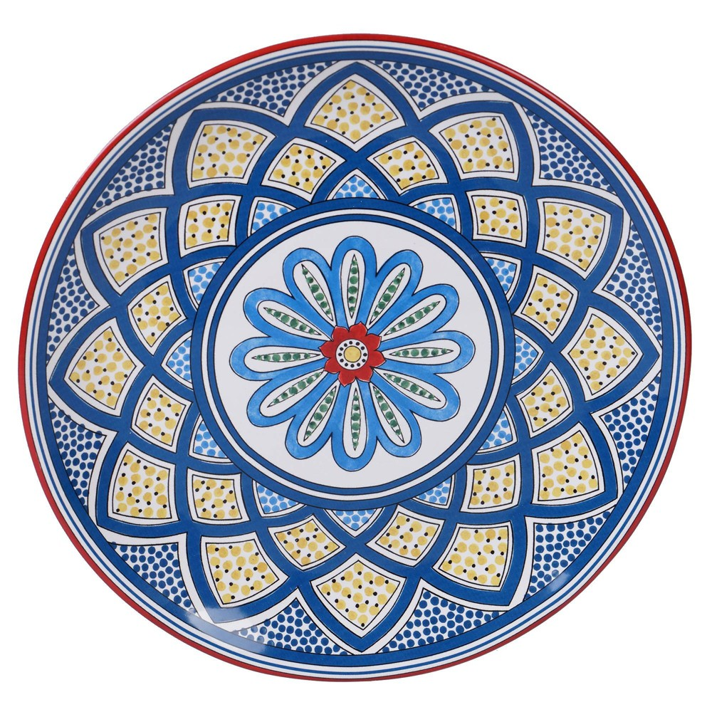 "Image of ""13"""" Earthenware Tangier Round Serving Platter Blue - Certified International"""