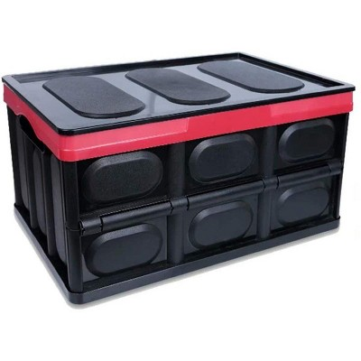 Collapsible Car Trunk Storage Box - 30L - Red/Black, Foldable Storage Bin with Lid for Car Storage, Indoor, Travel and Camping