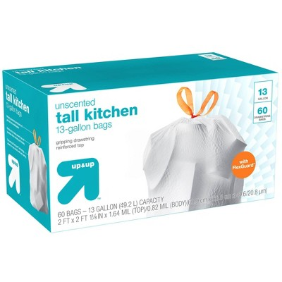 FlexGuard Tall Kitchen Drawstring Trash Bags - Unscented - 13 Gallon - 60ct - up & up™