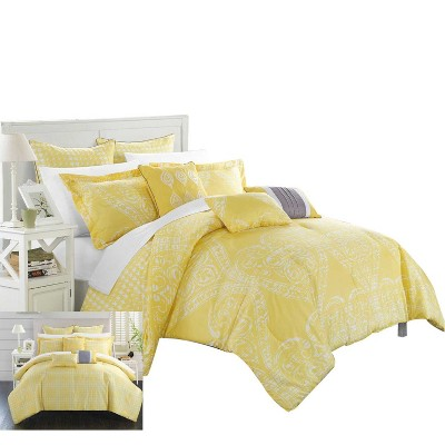 Chic Home Parma Sicily Oversized Reversible Printed Soft Luxury Comforter Set 6 Piece - Yellow