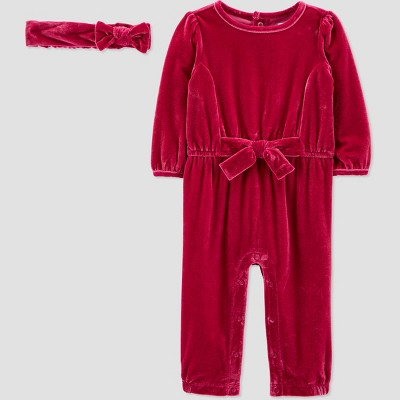 Baby Girls' Velour Jumpsuit with Headband - Just One You® made by carter's Megenta Newborn