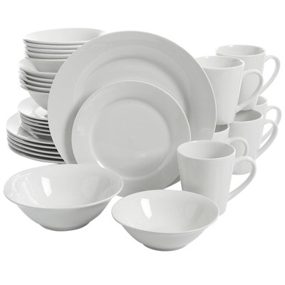 Gibson Home 30pc Ceramic Noble Court Dinnerware Set White