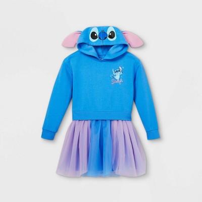 Girls' Disney Stitch Hooded Sweater Dress - Blue