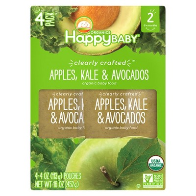 Happy Baby Clearly Crafted, Apples Kale Avocado - 4oz (4ct)