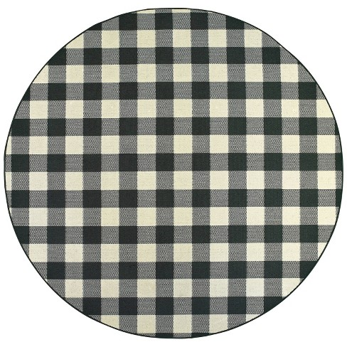 Madeline Border Patio Rug Black/Ivory - image 1 of 2