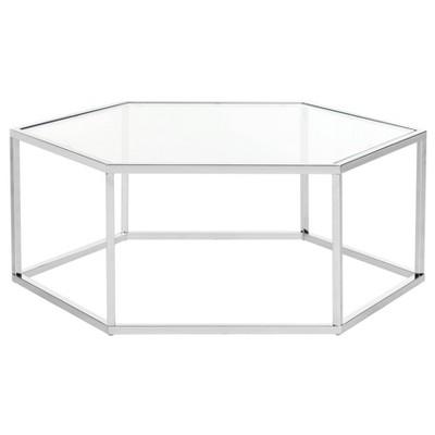 Eliana Glass Coffee Table Chrome - Safavieh