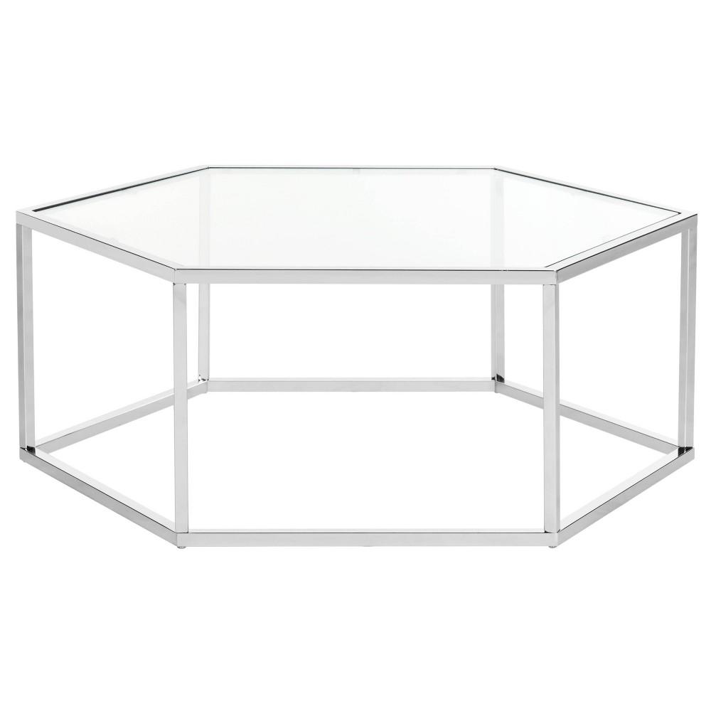 Eliana Glass Coffee Table Chrome Safavieh