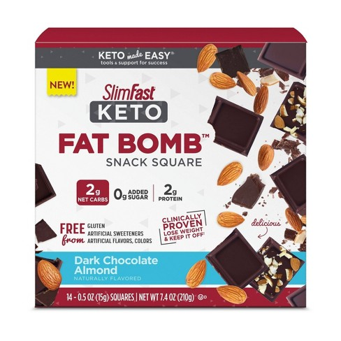 SlimFast Keto Fat Bomb Snack Square - Dark Chocolate Almond - 14ct - image 1 of 3