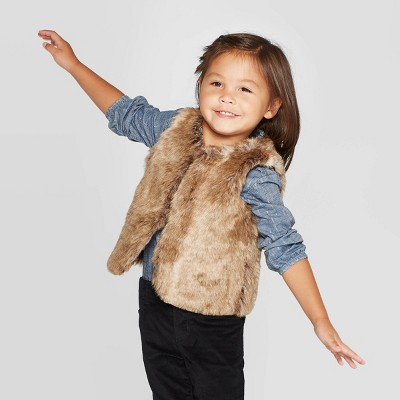 OshKosh B'gosh Toddler Girls' Faux Fur Vest - Brown 18M