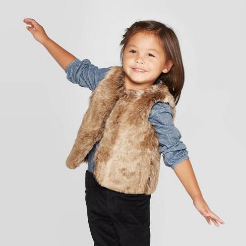 Oshkosh'B'gosh Toddler Girls' Faux Fur Vest - Brown - image 1 of 3